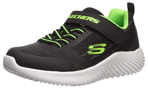 Skechers Bounder, Zapatillas para Niños, Negro (Black & Blue Textile/