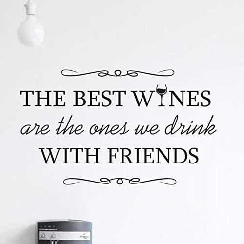 De Beste Wijnen Muursticker Drankjes Quote Home Decor Decals Muurcitaten Wijn met Vrienden Muursticker Bar Ontwerp Muur Mural 96 * 57cm