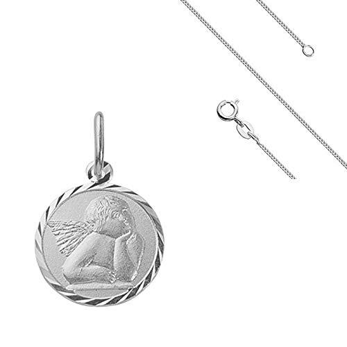 Chaîne et Pendentif Médaille Ange Baptême 15 mm Argent Massif 925