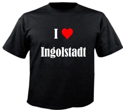 Kinder T-Shirt I Love Ingolstadt Größe 128 Farbe Schwarz Druck Weiss
