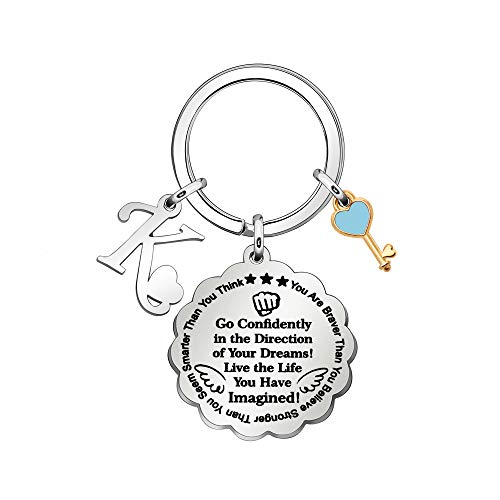 IUYJVR Inspirational Keychain Rings A to Z Initial Key Chain Go Confidently In the Direction of Your Dream Keyring Women Men (K)
