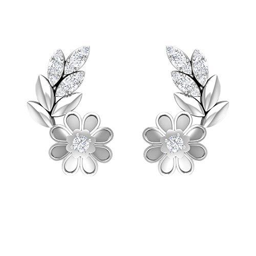 HI-SI - Pendientes de diamante con diseño floral, diseño de hojas, bonitos pendientes de tuerca blanco
