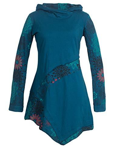 Vishes - Alternative Bekleidung - Asymmetrisches Langarm Damen Baumwoll Blumen-Kleid Hoodie mit Kapuze türkis 34