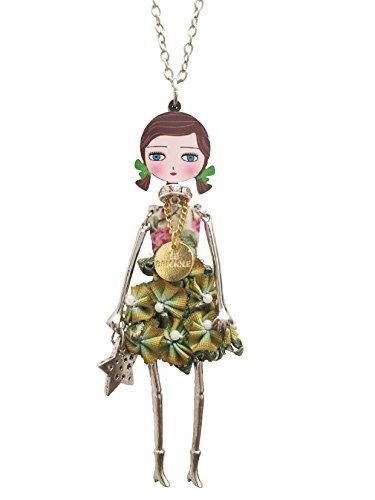 Collana Bambolina con vestito a fiori in Verde