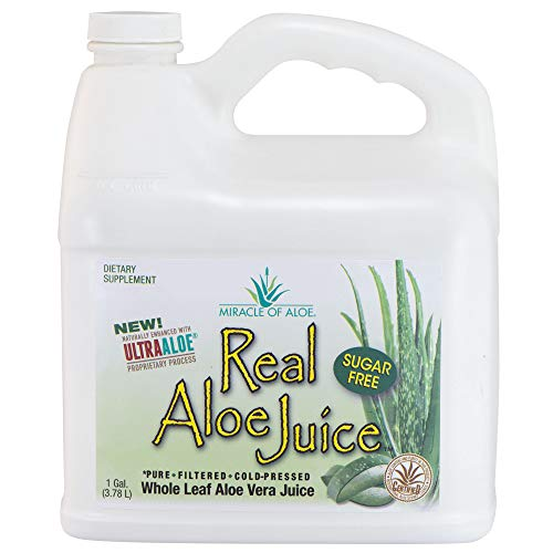 Real Aloe Whole-Leaf Pure Aloe Vera Juice   Gallon   Cold-Pressed   Purified   Filtered   Not from Concentrate   Certified for Content and Purity by The International Aloe Science Council (1 Gallon)