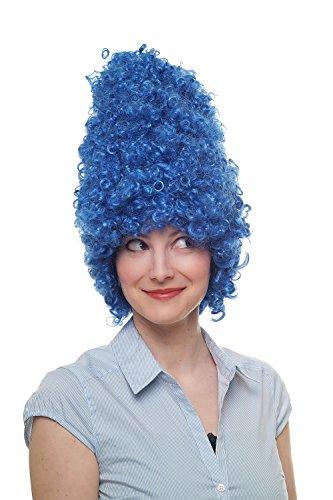 WIG ME UP ® - 8648-C3 Fasching Karneval Halloween Perücke Beehive Wig Turmperücke Barock Drag Queen Blau
