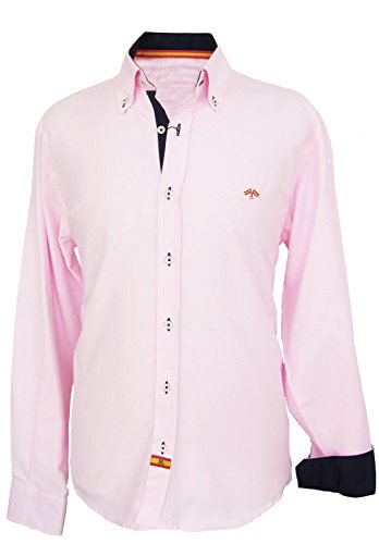 Pi2010 Camisa Bandera de España Hombre Rosa con Marino, Fabricado