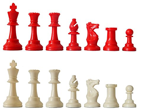 SchachQueen - E281 - Jeu d'échecs Plastique - Rouge/Blanc - King Hauteur 97 mm