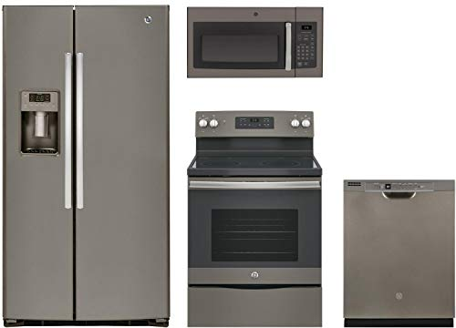 GE 4-Piece Slate Kitchen Package with 36' Side by Side Refrigerator, 30' Freestanding Electric Range, 30' Over-the-Range Microwave and 24' Full Console Dishwasher
