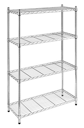 Whitmor 4 Tier Chrome Supreme 4 Tier Adjustable Shelves and Leveling Feet-350 lb. Capacity per Shelf, 4-TIER