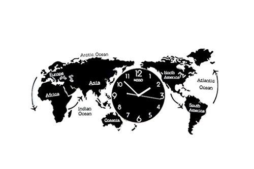 Lizhang Dekoration Wanduhr, Startseite - Weltkarte Modellierung Uhren, Wohnzimmer Schlafzimmer Restaurant Bar Coffee Shop, kreative Wanduhr groß, (74-120cm) (Farbe : A-120 * 55CM)