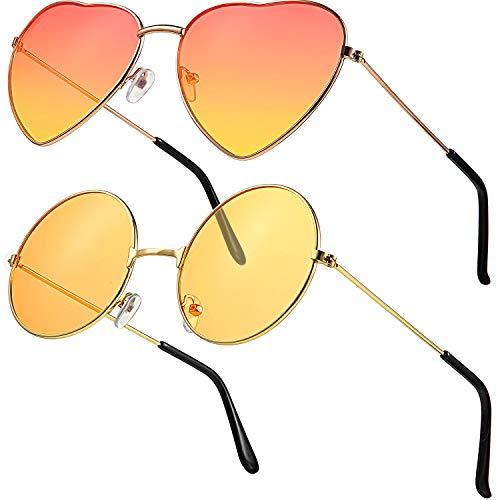 2 Paare Hippie Sonnenbrillen Retro Hippie Stil Sonnenbrillen Hippie Kostüm Sonnenbrillen Herren Damen Brillen (Orange Rund/ Herz Form)