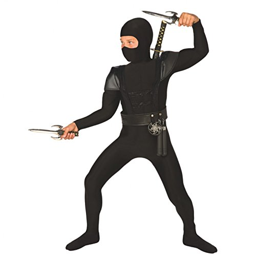 Kids Ninja Costume Childrens Black Kung Fu Karate Outfit with Nunchucks, Swords & Throwing Stars - Large