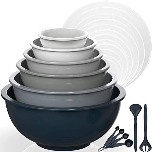 AIKKIL Rührschüssel 6er set, Plastiknist Salatschüssel mit Deckel, Schüssel mit Deckel, Enthält 2 Gabeln & 4 Messlöffel, BPA-frei & Stapelbar, ideal zum Mischen und Servieren(Grauer,18)