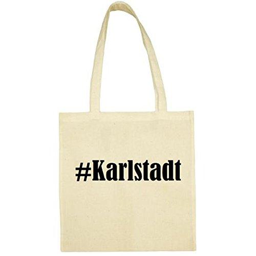 Tasche #Karlstadt Größe 38x42 Farbe Natur Druck Schwarz