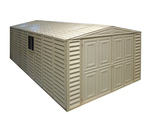 Duramax 01214 Vinyl Garage Shed with Foundation and Window, 10 by 21-Inch