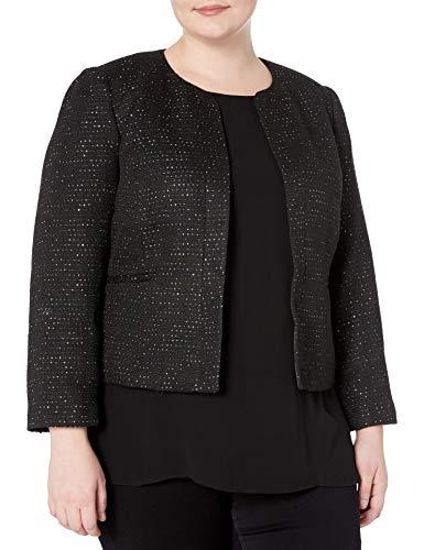 NINE WEST Women's Plus Size Sequin Tweed Jacket, Black/Multi, 24W