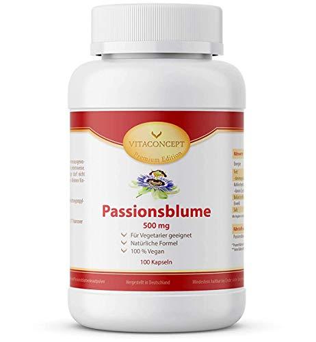 Passionsblume I 500 mg pro Kapseln I 100 hochdosierte, vegetarische Kapseln I made in Germany I von VITACONCEPT
