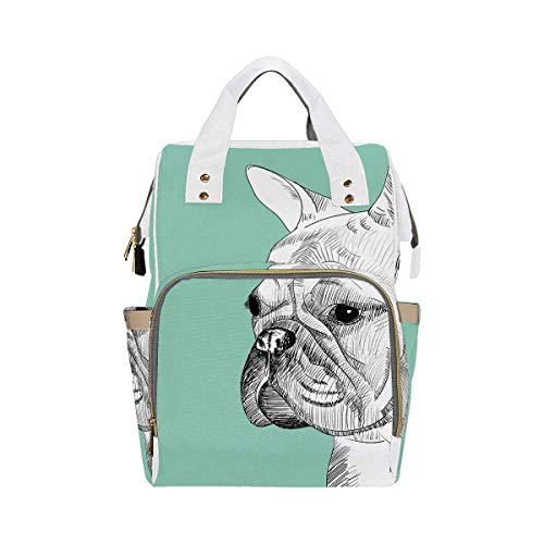 InterestPrint Large Baby Bag, Multi-Functional Travel Backpack for New Mother French Bulldog