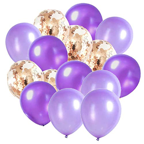 Purple Rose Gold Birthday Decorations Qian's Party Purple Lavender Rose Gold Confetti Balloons for Purple Rose Gold Bridal Shower/Wedding Decorations/Purple Lavender Baby Shower Decorations