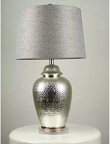 Luces de interior Sala Americana Gran dormitorio caliente lámpara de mesa de noche retro de plata de la luz baja de cerámica lámpara de escritorio del jardín luces de la decoración de mesa con pantall