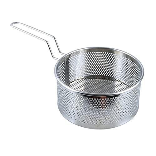 H HILABEE Cesta de freidora profunda Cesta de freír profunda de acero inoxidable Sartén para freír Sartén Gadgets de cocina - Tamaño