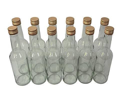 Destillatio 12 x sterke drank fles - 0,35 liter helder glas incl. schroefdeksel