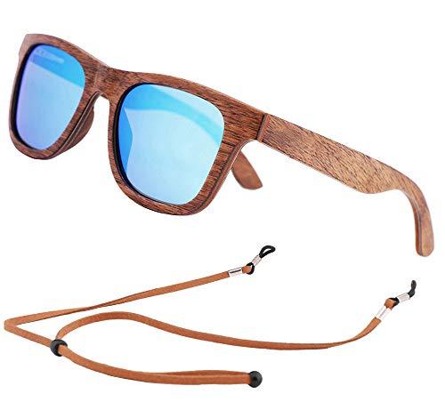 Gafas de sol de Madera Bambú, Gafas de sol Polarizadas Hombre Mujer Vintage Espejo Marca (Lente Azul)