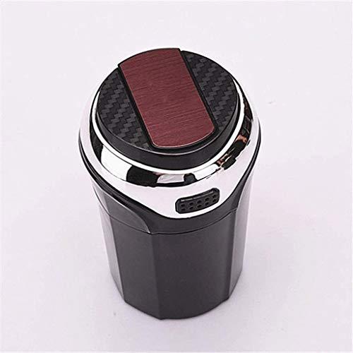 WCJ Blue LED licht met deksel, gemakkelijk te reinigen, afneembare RVS auto asbak en afneembare aansteker voor de meeste auto bekerhouders met auto logo