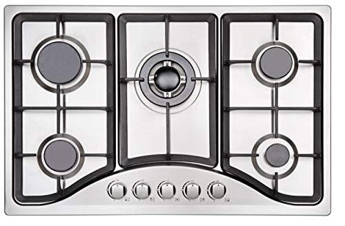 Placa de cocción de gas con 5 quemadores de gas – Autosuficiente placa de gas con 5 quemadores de gas – Cocina empotrable – Gas natural/propano (5 quemadores – acero inoxidable)