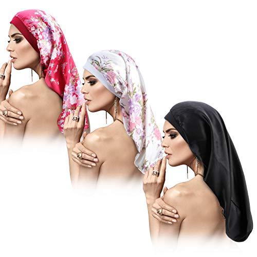 3 Packungen Lange Satin Haube Schlafmütze für Langes Haar, Doppelschichtige Satin Seiden Haube Schlafmütze, Lose Kappe Mützen für Frauen mit Dreadlocks Lockiges Haar (Weiß Pfingstrose Muster)