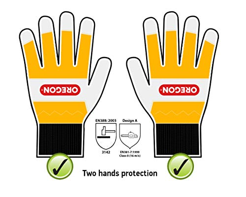 Oregon 295399L Guantes protectores para el trabajo con Motosierra, Color Amarillo, Talla L