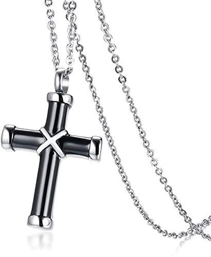 Aluyouqi Co.,ltd Collar Colgante Cruzado Envuelto Negro para Cenizas Collar Urna Joyería Abierta Recuerdo Ceniza