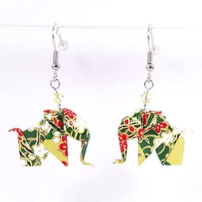 Boucles d'oreilles petits éléphants origamis verts et rouges - crochets inox