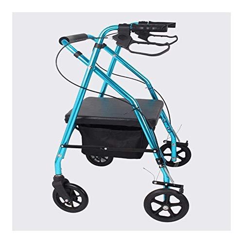 LYP Andador Rollator Andador Andador con Ruedas Andador de Altura Regulable Asiento Acolchado con Ruedas de Freno y Respaldo Plegable Ayuda a la Movilidad for los Mayores de Movilidad (Color : Blue)
