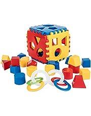 Mimtom Baby Shape Sorteer Speelgoed | Speelkubus met 18 sorteerblokken en bijtring, Kubus opnieuw bouwen, herbruikbaar, Lerend speelgoed gemaakt in de EU - rood, blauw en geel