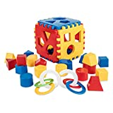 Mimtom Formensortierer Steckwürfel | Steckbox Babyspielwürfel mit 18 Sortierblöcken und Kinderrassel hergestellt in der EU| Lernspielzeug für Kinder von 1-3 Jahren - rot, blau & gelb -