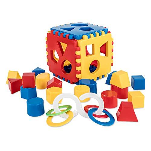 Mimtom Gioco delle Forme per Bambini | Cubo Giocattolo Ricomponibile con 18 Blocchi e Sonaglio | Fatto in Europa – Rosso, Blu e Giallo | Regalo Didattico Educativo per Bambini da 1 a 3 Anni
