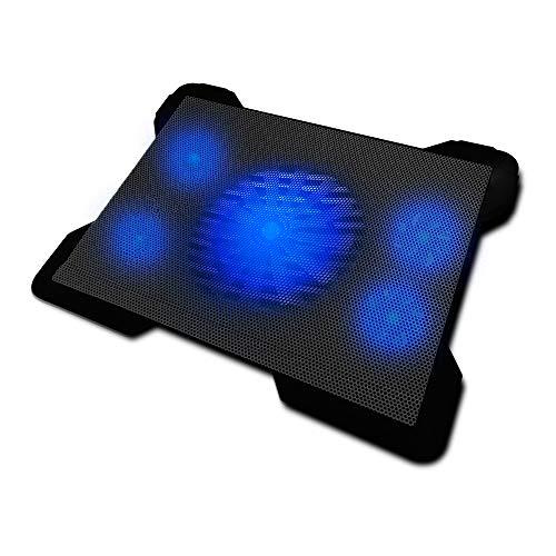 """Woxter Cooling Pad 1560 R – Base refrigeradora para portátiles, 5 ventiladores desconectables, luz led azul y 2 puertos USB, especialmente diseñado para gamers, (silencioso 30dBA, base iluminada, alimentado por USB, control de velocidad y compatible con portátiles de 10""""-17""""), color negro"""