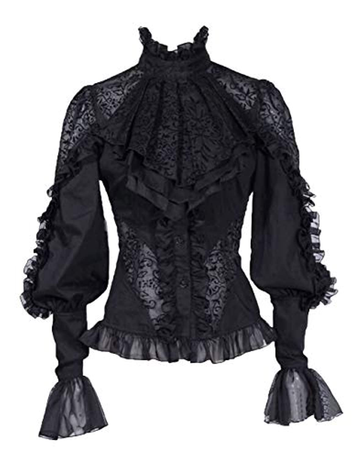 Nite closet Victorian Shirt Women Lace Bowtie Tops Long Sleeve Gothic Lolita