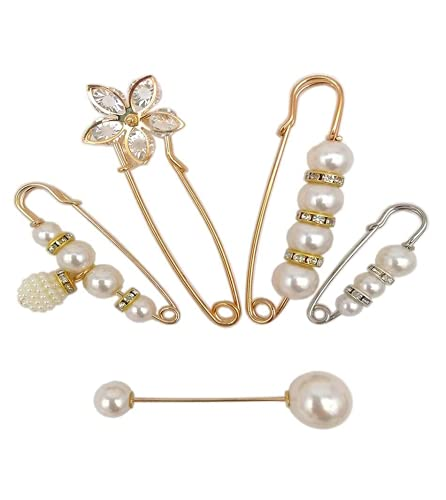 Safety Pins Heavy Duty Safety Pins Beautiful and Practical, Craft Pearls Rhinestones Shirt Blanket Shawl Decorative Safety Pins 5 Pcs. for Women SU.ZHUAN