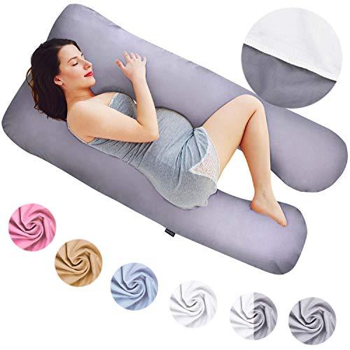 Almohadas de Embarazo, Almohadas para Dormir de Lado, Almohadas de posicionamiento, Almohadas para bebés y para Lactancia en Forma de U, Funda Lavable 100% algodón (Classic XXL, 150 x 80 cm, Dúo)