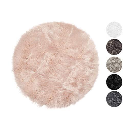Taracarpet Kunstfell Teppich rosa 030x030 cm rund Schaffell Imitat Wohnzimmer Schlafzimmer Kinderzimmer auch als Bett-Vorleger oder als Matte für Stuhl Sofa
