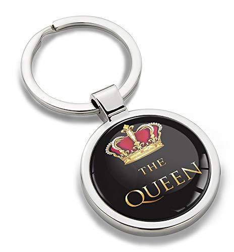 Biomar Labs® Schlüsselanhänger Metall Keyring Autoschlüssel Geschenk Metall-Schlüsselanhänger Schlüsselbund Edelstahl Queen Emblem, KK 166