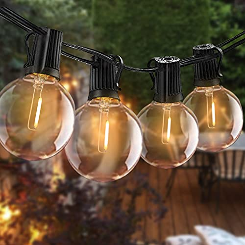 Outdoor String Lights LED Bomcosy G40 25ft Festoon Lights 2700K, 12Pcs Sockets, 1.64ft Spacing, Waterproof Indoor Outdoor Globe String Lights for Garden Terrace Patio Outside Lights