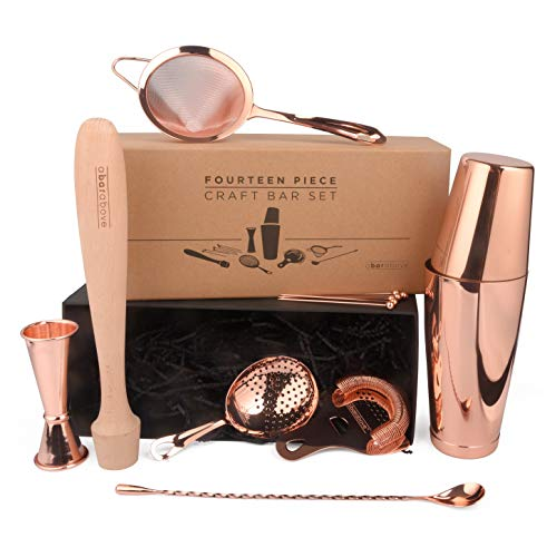 Premium Copper Bar Set for Professional Bartenders: 14 Piece Bartending Set for World-Class Bars. Tools Included: Boston Shaker, 3 Cocktail Strainers, Jigger, Muddler, Spoon & 6 Cocktail Picks