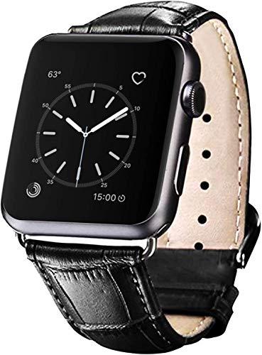Lederarmband Kompatibel mit für iWatch Armband 38 / 40MM, 42 / 44MM, Herren Damen Ersatz Original Lederarmband für Apple Watch Serie 6 5 4 3 2 1,Schwarz