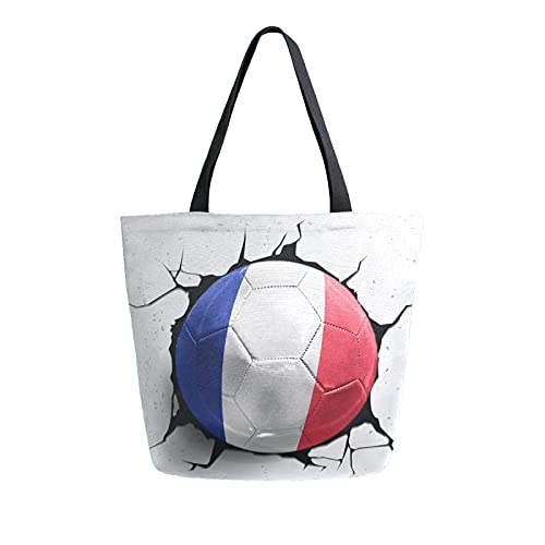 Luckyeah Einkaufstasche mit Frankreich-Flagge, für Damen, aus Leinen, große...