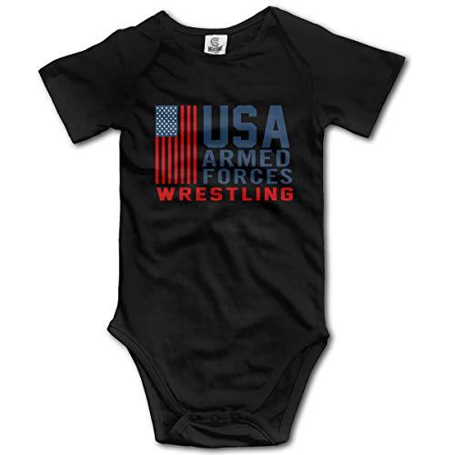 Abigails Home Combat USA (2) Combinaison bébé Barboteuse pour bébé à Manches Courtes pour Tout-Petit (18M, Noir)