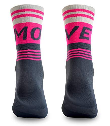 NORTEI Calcetines para Ciclismo, MTB y Running de Caña Alta para Hombre y Mujer – Move Pink (S-M (38-42))